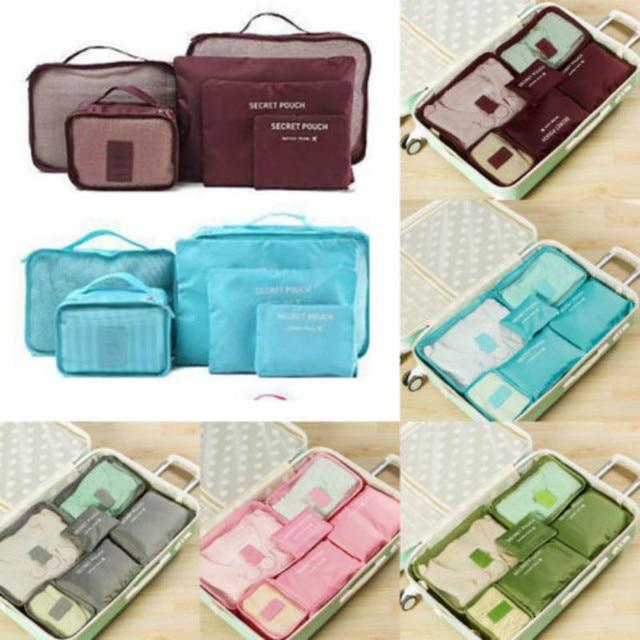 6 pièces sac organisateur de voyage pochette à vêtements mallette de rangement Portable valise à bagages &
