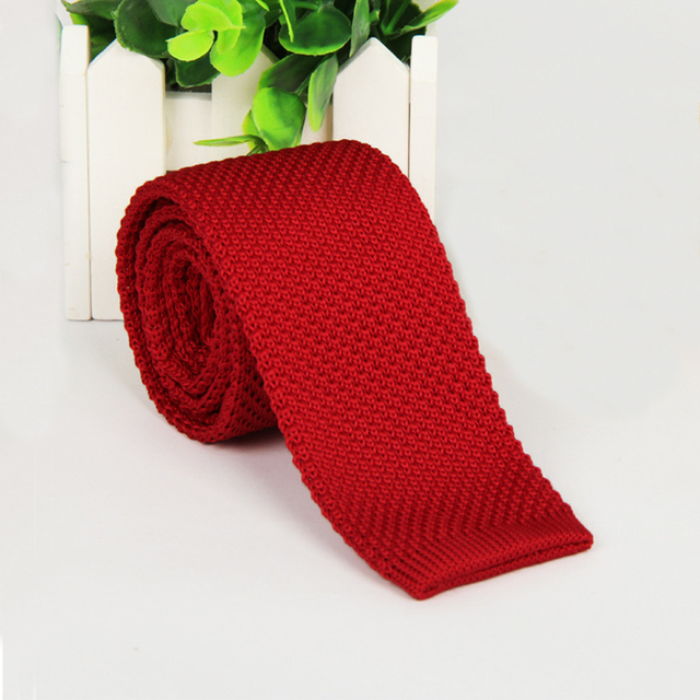 Vintage Style Plain Color Knitted Ties