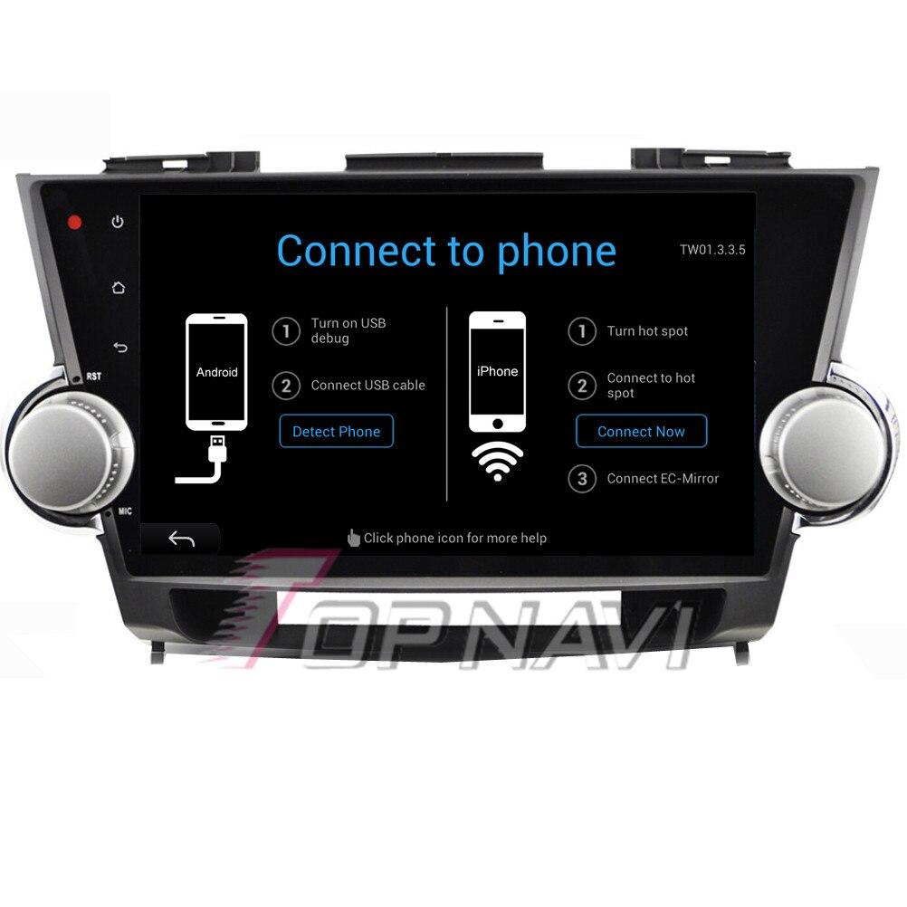 "Topnavi 10,"" 4 ядра Android 6,0 Автомобильный мультимедийный для Highlander 2009 2010 2011 2012 2013 авто, без DVD"