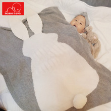 Baby Blanket Newborn Cute Rabbit Ear Nap Blanket Soft Warm Knitted Swaddle Kids Air Conditioning Blanket Toddler Bedding Blanket цена в Москве и Питере