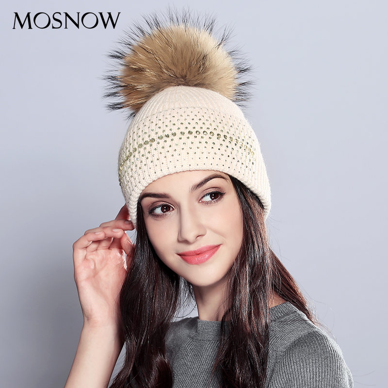 MOSNOW Winter Hats For Women Vogue Wool Natural Raccoon Fur Pom Poms New 2018 Knitted Warm Hat Female   Skullies     Beanies   #MZ709B