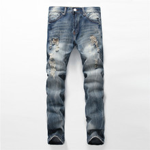 New 2016 Fashion Brand Designers Ripped Jeans Hommes Mens Plus Size 40 Casual Denim Pants Straight Blue Slim Hole Jeans For Men