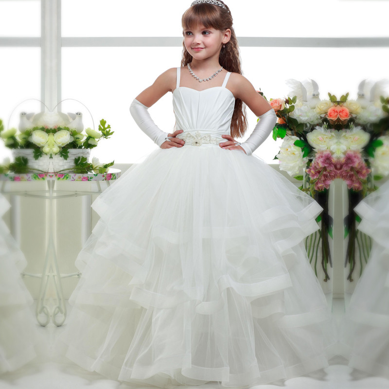 White Flower Girl Dresses Spaghetti Strap with Beaded Sash Ruffle Kid Ball Gowns Lace Up First Communion Gowns Vestidos