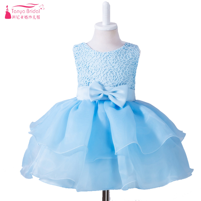 Sky Blue Cute Baby Birthday Dresses Little Kids Flower S For Wedding And Party First Munion