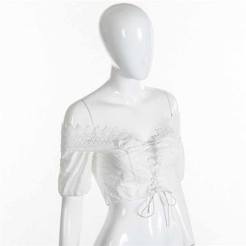 NCLAGEN 2018 New Women Fashion Sexy T-shirt Short Sleeve V Neck Lace-up Crop Top Hollow Out Off Shoulder Lace Bow White T Shirt