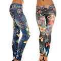 Mulheres Leggings Pants Jeggings Mulheres Leopardo Cinto Colorido Impresso Leggings
