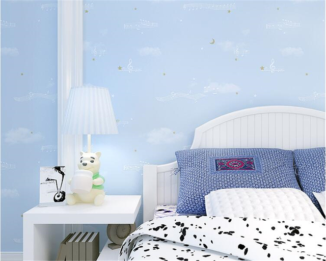 Beibehang Modern Children Wallpaper Bedroom Musical Note Striped