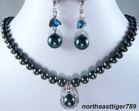Nobility jewelry choker Real Black Pearl Blue Cubic Zirconia Clasp Pendant Necklace Earrings Set silver jewelry