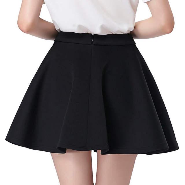 7b8560d0c US $19.55 49% OFF|Black Skater Skirt 2017 Summer Womens High Waist Mini  Short Skirts Above Knee Vintage 50s Casual Party Pleated Swing  Underskirt-in ...