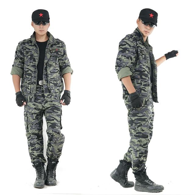 Mens all aperto Vestiti Da Caccia Cotone Camuffamento Suit Outfit Giacca  Alpinismo + Pants Militare 58ca28fd248b
