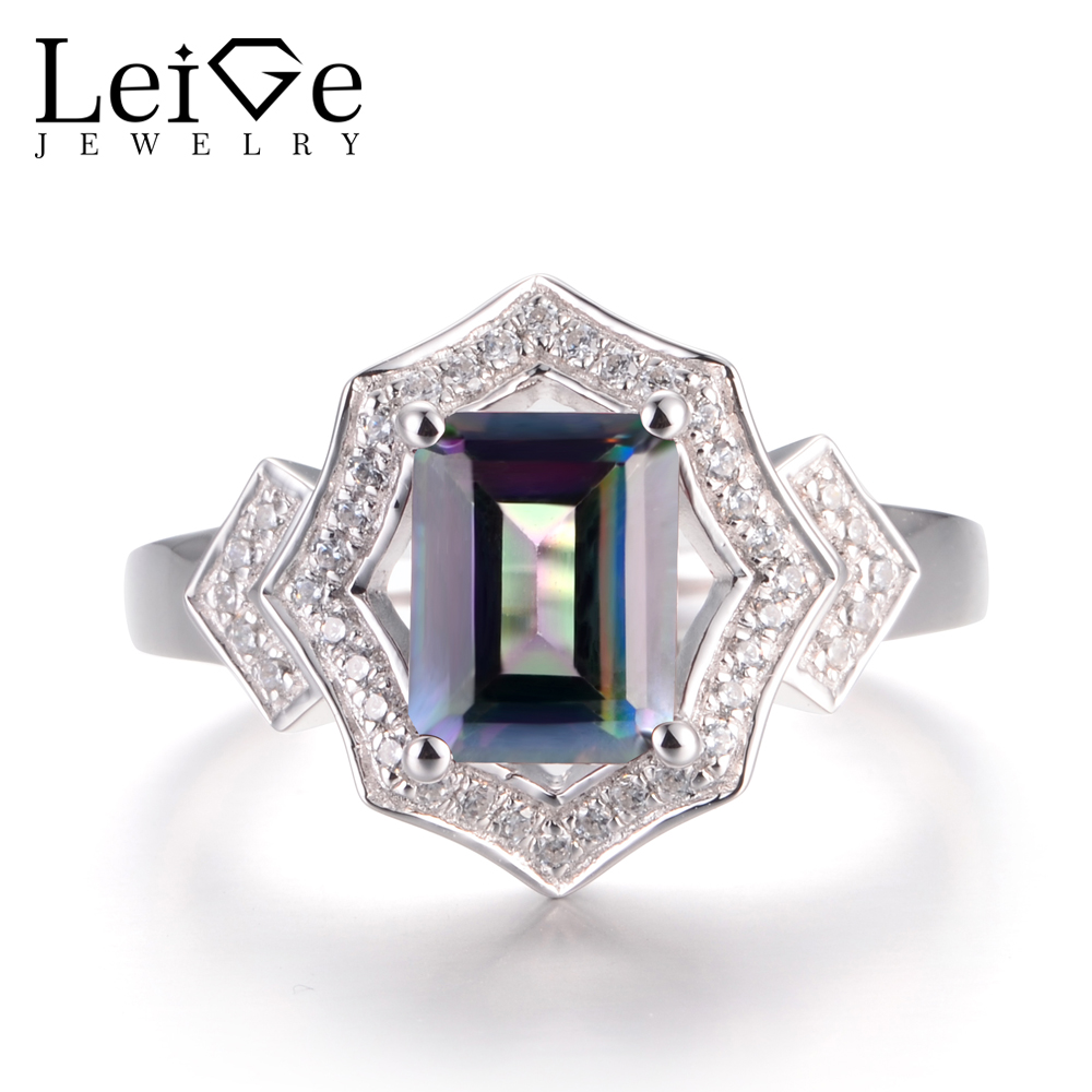 LeiGe Jewelry Real Mystic Topaz Rings Rainbow Topaz Rings Emerald Cut Rainbow Gems Ring Solid 925 Sterling Silver Gifts for HerLeiGe Jewelry Real Mystic Topaz Rings Rainbow Topaz Rings Emerald Cut Rainbow Gems Ring Solid 925 Sterling Silver Gifts for Her