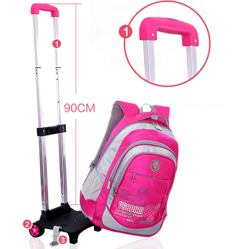 Removable Children Trolley School Bag Backpack With Wheels Kids Rolling High Students Book Wheeled In Bags From Luggage