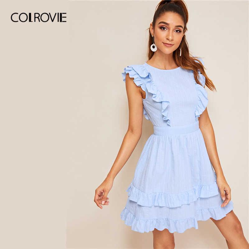COLROVIE синий однотонные, с бантиком, с низким вырезом на спине многоуровневый рюшами Boho короткое платье; Для женщин 2019 летние Высокая Талия каникулы сексуальные платья для женщин
