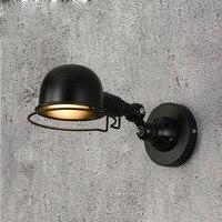Amerykańska kreatywny wnętrze domu osobowości LED pokój kinkiet obracanie retro salon czarne małe żelaza kinkiet lampy led