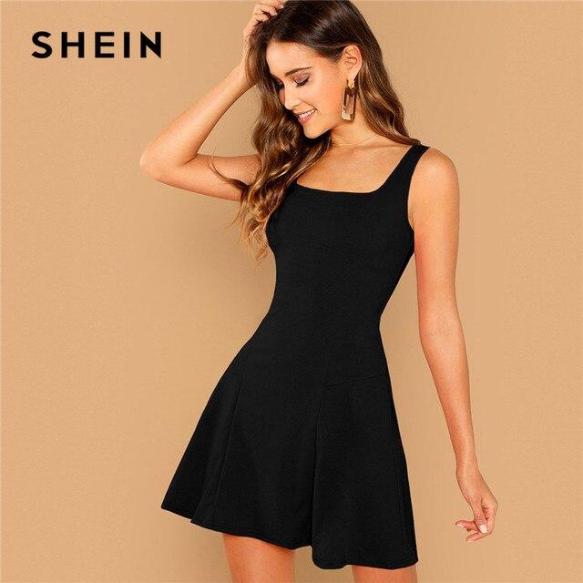 שיין שחור Fit ואבוקת מוצק שמלת אלגנטי רצועות שרוולים רגיל קו שמלות נשים קיץ סתיו רוכסן קצר שמלה