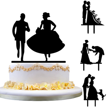 Bride and Bridegroom Cake Topper Cupcake Flags Cupcake Decoration Romantic Creative Wedding Decor Party Decorations gown