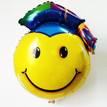 5pcs/lot 30inch graduation foil balloons smiling face doctor cap ballon for party decorations Doctorial hat globos