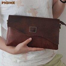 PNDME vintage crazy horse leather men women clutch bag multi function genuine leather shoulder bag long wallet phone bag purse цена 2017