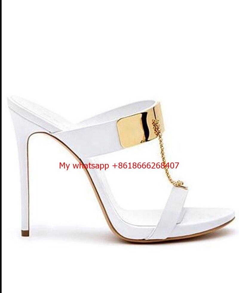 Women Slippers Sandals Thin High Heel Thick Bottom Platform Flip Flop Chains Ultra High Heel Mule Slide Shoes women gladiator sandals gold chains slip on high heel slippers shoes