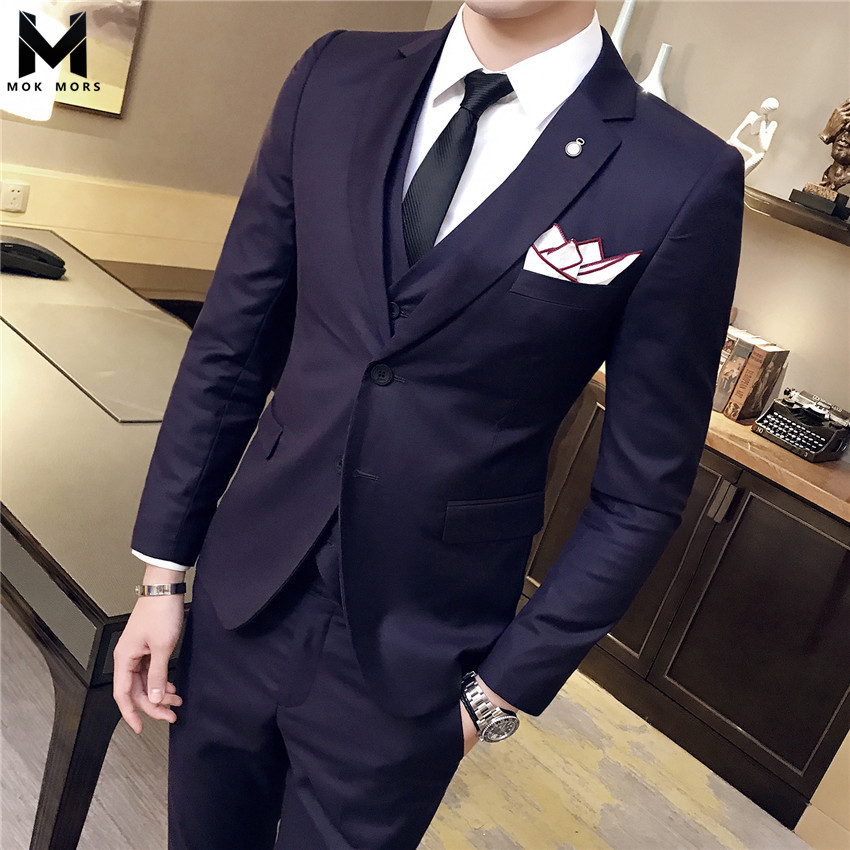 72a9c2f843b 2018 Spring And Autumn Men s New Business Casual Double Buckle Mens Suit  fashion Brand Casual Lapel Cotton Long Sleeve Men Suit