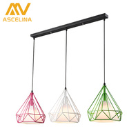 Modern Art Pyramid Nordic Iron Diamond Pendant Color Lights Birdcage Ceiling Pendant Lamps Home Decorative Light