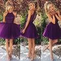 Short Purple Robe Cocktail With Sequins Beaded Vestido De Coctel Pleated Party Gowns With Keyhole Back