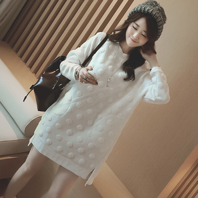 White Dots Maternity Clothes for Pregnant Women Autumn Winter Maternity Clothing Pregnancy Dresses New Fashion