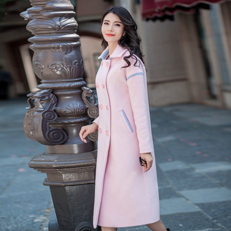 2016 Fashion Women's Winter Wool Coat Solid Color Double Breasted Prink Outwear Turn-down Collar Long Sleeve Casual Overcoat