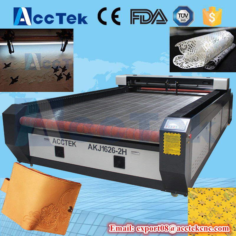 Hot sale 80W co2 laser cutter for cloth/fabric big size home fabric laser cutting machine with two head
