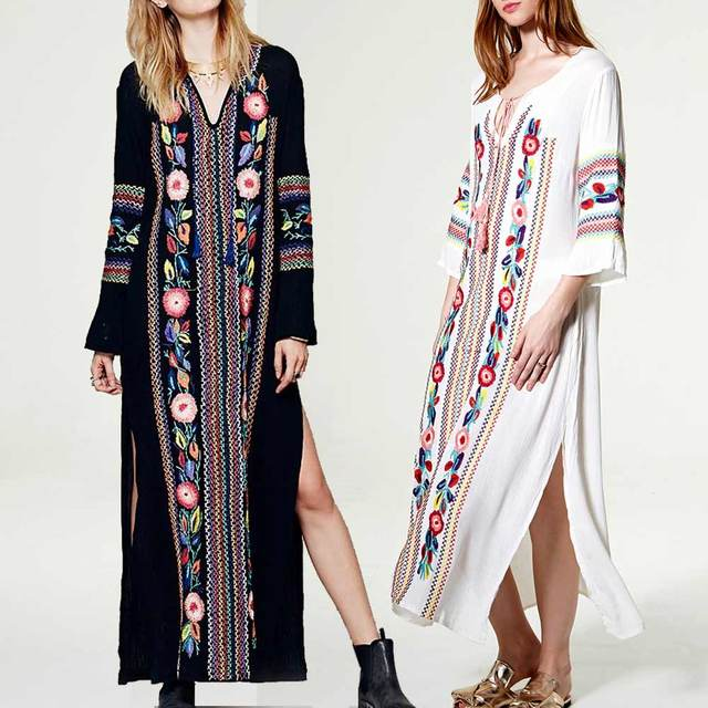 boho dress summer/autumn Women Bohemian Long Dress loose fit Sleeve V-Neck Embroidery Floral Black With a Slit women clothing