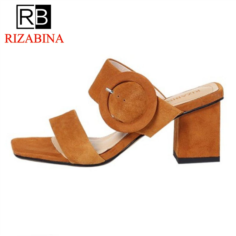 RizaBina Women High Heel Sandals Genuine Leather Thick Heel Open Toe Ladies Summer Shoes Elegant Sandals Footwear Size 34-39 hzxinlive elegant summer sandals women high heel wedges shoes woman round toe roman sandals ladies footwear female casual shoes