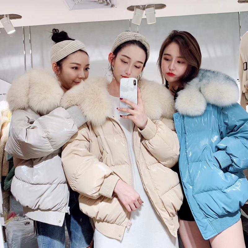 Big Real Fox Fur Collar 2019 Winter Jacket Women 90%White Duck   Down   Jacket Female Oversive Thick Warm   Down   Parka Women   Down     Coat