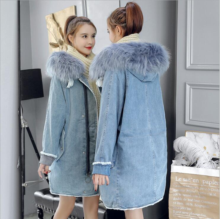 Femmes Agneaux Lavé Fourrure Denim Veste Col Bleu Jeans Manteau Chaud De Manteaux Longue Laine Hiver Lâche Épaissir Grand w18dqw