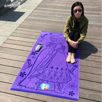 1PC 160X85cm bath towel yarn dye jacquard soft 100% cotton large size adult beach towel purple bottom with cute girl print T70