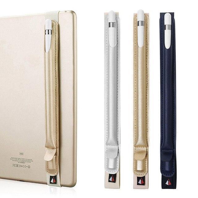 PU cuero elástico tableta Stylus pluma funda protectora funda soporte manga bolsa con bolsillo adaptador USB para Apple lápiz Ipencil