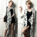 Free Shipping Ladies 2013 Summer Fashion patchwork silk scarf  Cardigan O-Neck Three-Quarter Sleeve Long T-shirt