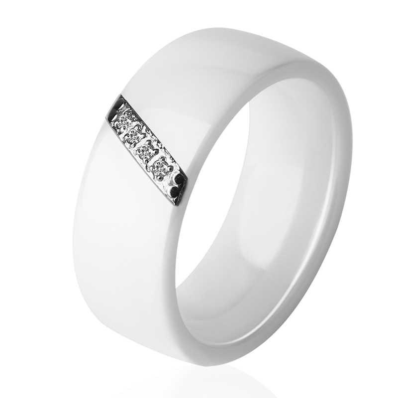 New 8mm Rộng Màu Đen Và Tinh Thể Màu Trắng Gốm Vòng Đối Với Phụ Nữ Cubic Zirconia Cổ Điển Wedding Party Nhẫn Đính Hôn Thời Trang đồ trang sức