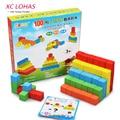 100pcs/set DIY Wooden Bricks Building Blocks Toys Multicolor Assembling Educational Blocks Set Baby Learning Toys Fast Shipping