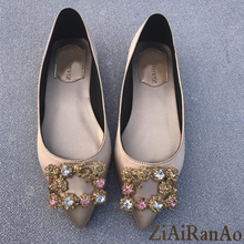 Full season Shoes Woman Fashion Crystal Women Flats Shoes Casual Pointed Toe Women's Shoes Party Wedding Lady Flat Shoes