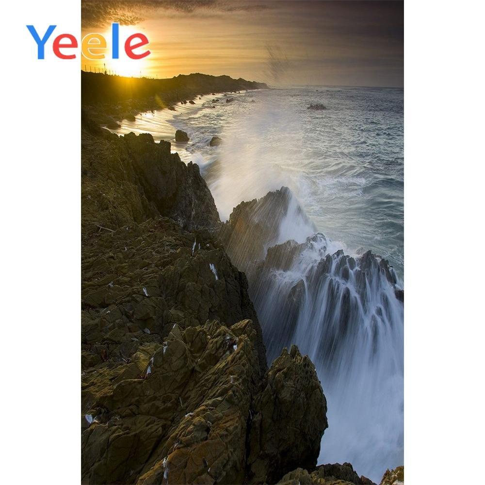 Yeele Seaside Waves View Photographic Backdrops Stone Island Sunset Scenery Photography Backgrounds Customized For Photo Studio