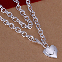 N212 Promotion top quality Silver Plated & Stamped 925 solid heart with key flower charms link necklace for women treny jewelry