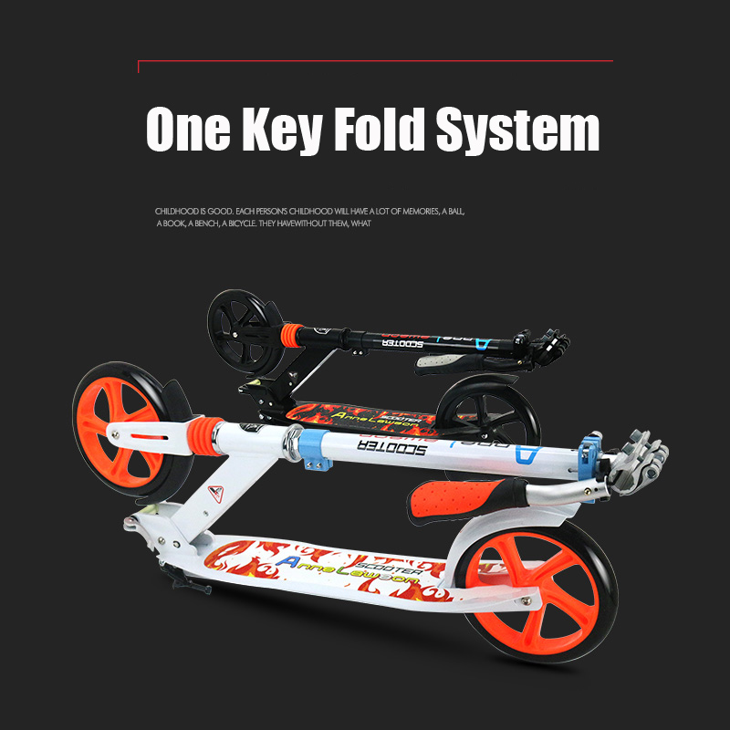 Купить с кэшбэком Aluminum Alloy 2 Wheel Scooters For Adults Kids Folding Portable Mini Bicycle Adult Kick Scooter Height Adjustable Scooter 200mm