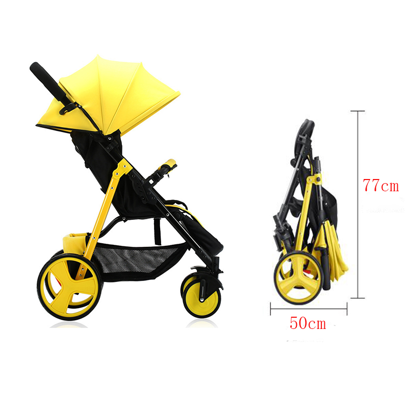 Lightweight Folding Baby Stroller Can Sit And Recline Shock Four Wheel Portable Pram