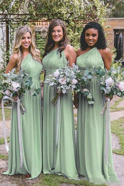 6f8610ba547d Vestidos de dama honor un hombro 2019 vestido fiesta boda noche largo para  las mujeres