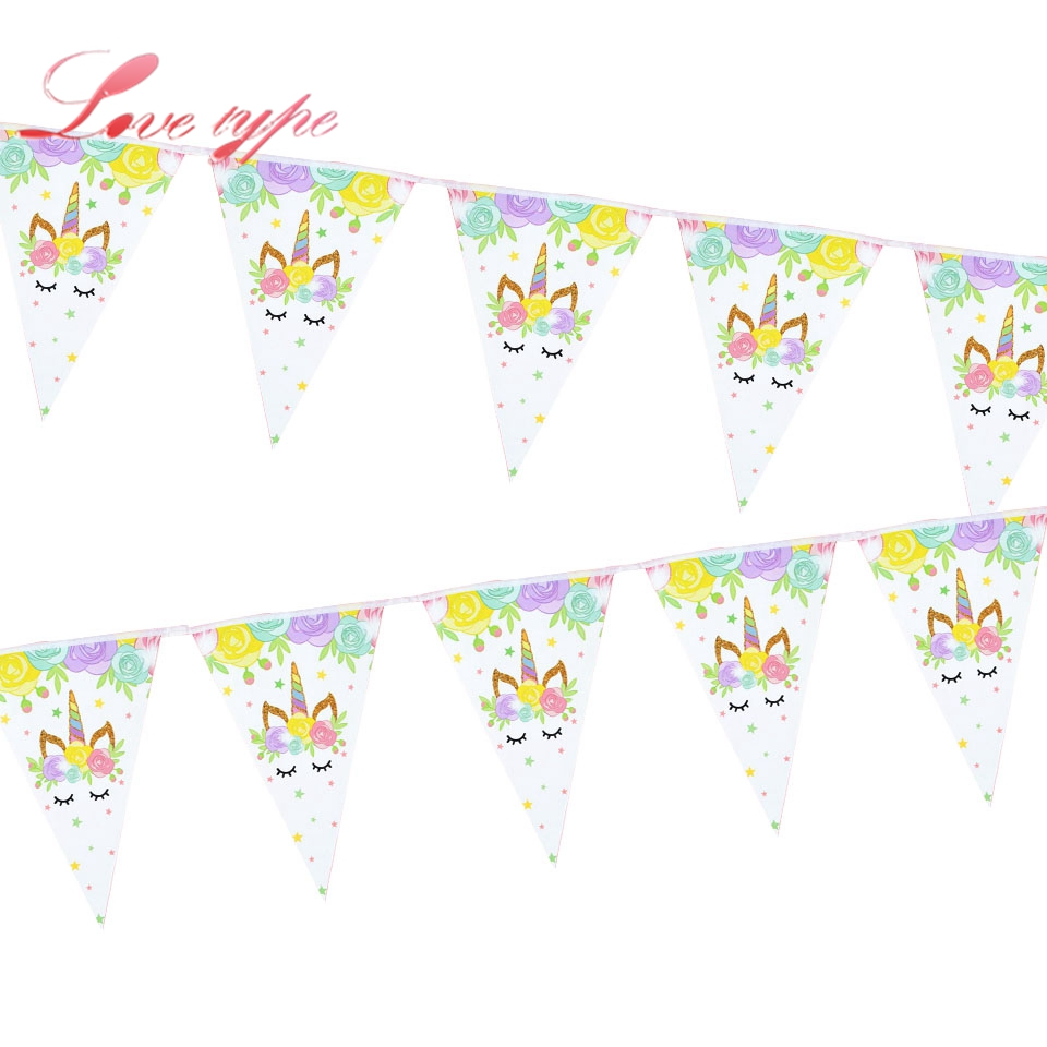 1Set Unicorn Horse Banners Rainbow Cupcake Wrappers Cartoon Cake Topper Cake Decor Wedding/Kid Birthday/Pool Party Decoration