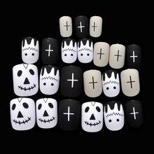 Matte Fake Nail White Black Light Khaki Short Nail Tips Mask Nail Art Manicure Tools Halloween Must Z903