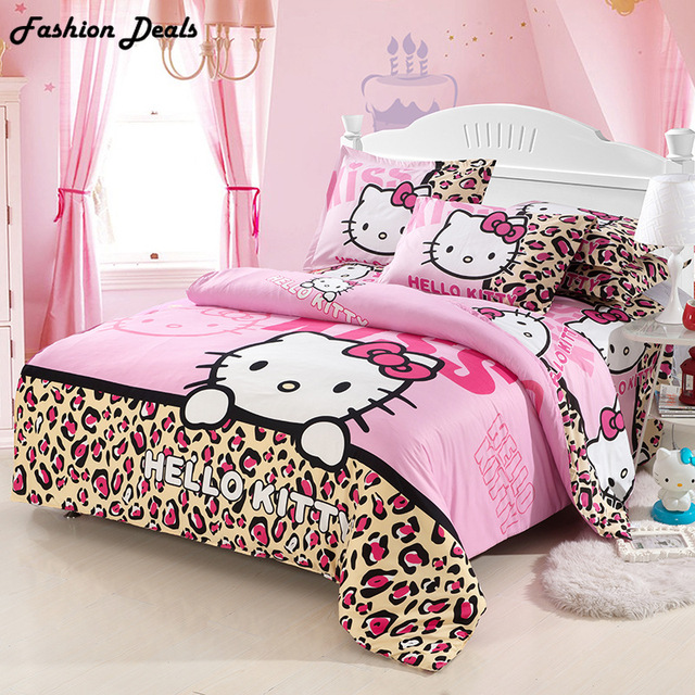 0f01b0057 Home Textile Hello Kitty Pattern Bedding Set Kids Cotton Bed Linens 3/4pcs  Bed Sheet Pillowcase Duvet Cover Set Bed Set Hot Sale