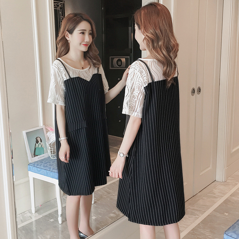 Maternity summer dresses 2018 new lace stitching stripes fashion short-sleeve pregnant women dress pregnancy clothes vestidos