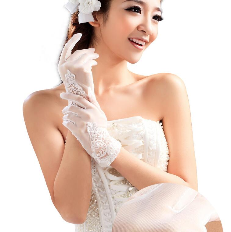 Women's Elegant White Color Mesh Glove Female Spring Summer Sunscreen Transparent Lace Glove R1483