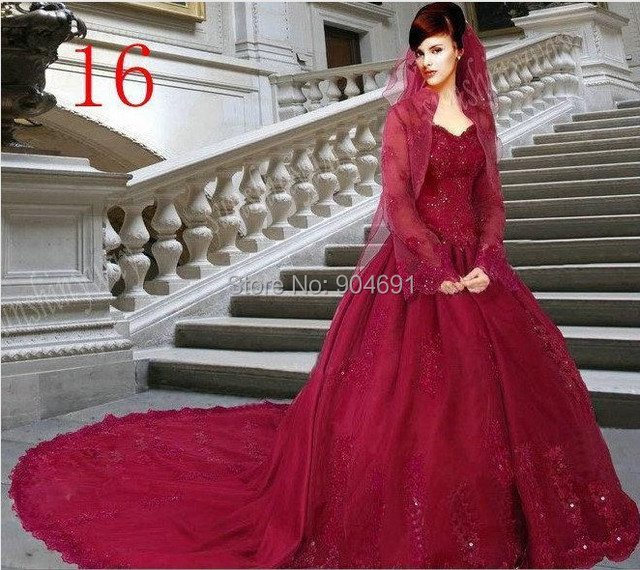 427d2df2e05a Plus Size Wedding Dress Red raspberry Satin Lace Free Bolero Jacket Long  Sleeves Strapless A-line Bridal Wedding Gowns C67